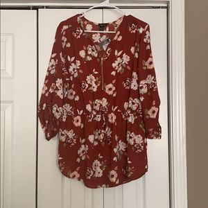 Women's floral zip up house